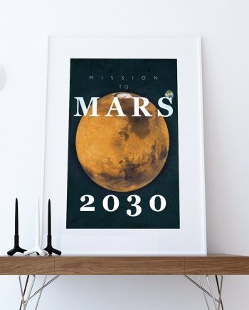 Mission to Mars Minimalist Art Print Science & Physics Illustration on Cotton Canvas and Paper Canvas Wall Decor