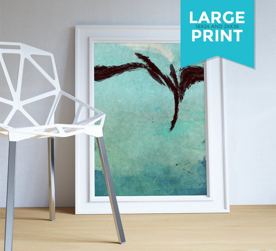 Modern Abstract Print Blue Green Illustration Art Large Poster Print Giclee on Satin or Cotton Canvas Wall Decor
