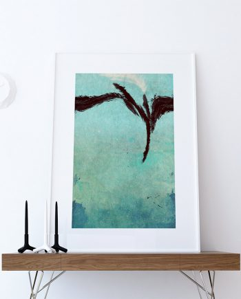 Modern Abstract Print Blue Green Illustration Art Print Giclee on Cotton Canvas and Paper Canvas Poster Wall Decor
