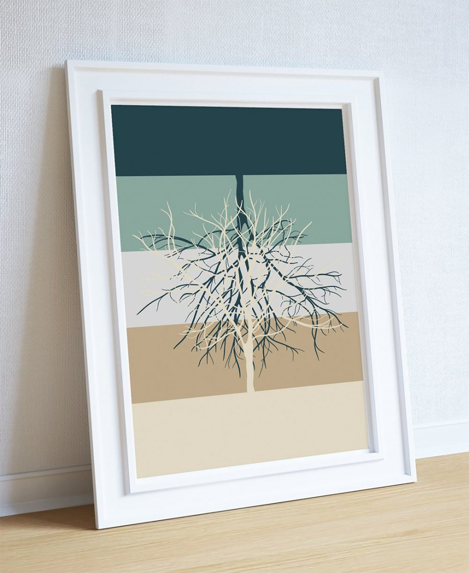Modern Abstract Print Tree Illustration Art Print Giclee on Cotton Canvas and Paper Canvas Poster Wall Decor