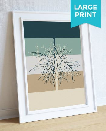 Modern Abstract Print Tree Illustration Art Print Giclee on Satin or Cotton Canvas Large Poster Wall Decor