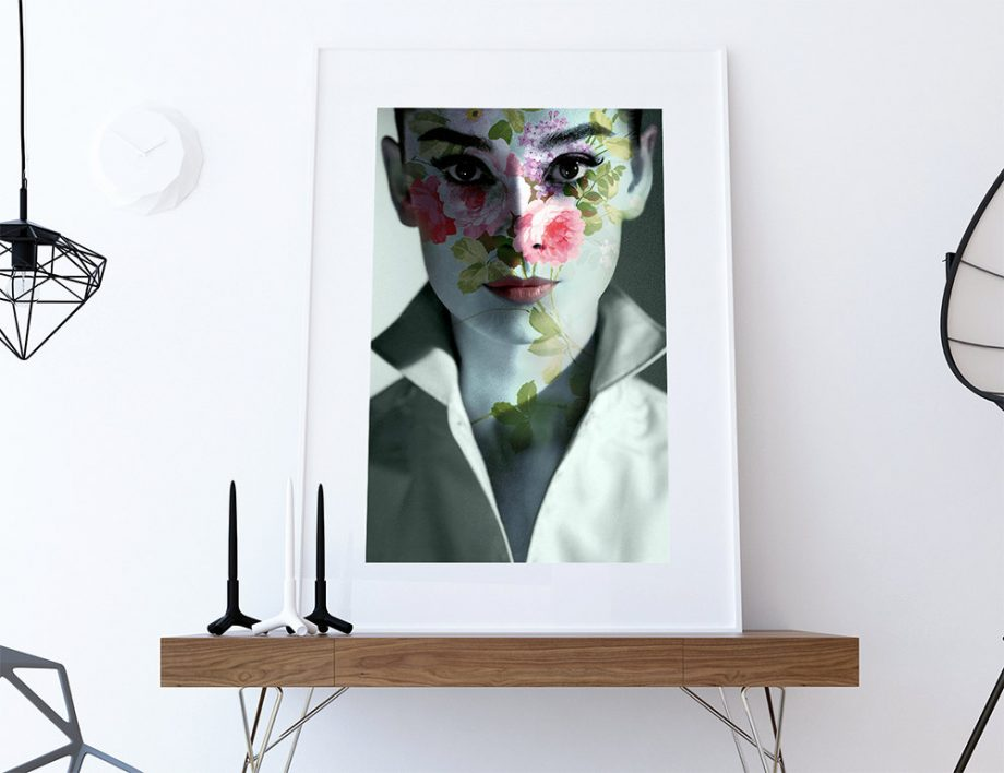 Modern Floral Audrey Hepburn Print Vintage Giclee on Cotton Canvas and Satin Photo Paper