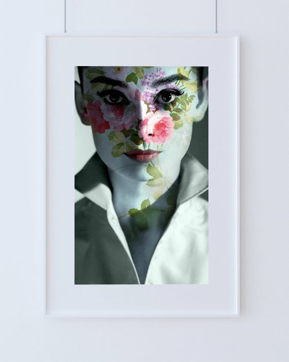 Modern Floral Audrey Hepburn Print Vintage Giclee on Cotton Canvas or Paper Canvas Poster Wall Decor