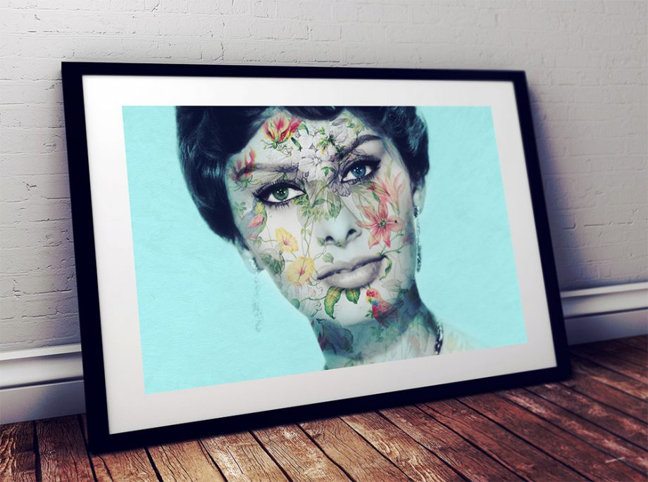 Modern Floral Sophia Loren Print Vintage Giclee on Cotton Canvas or Paper Canvas Poster Wall Decor