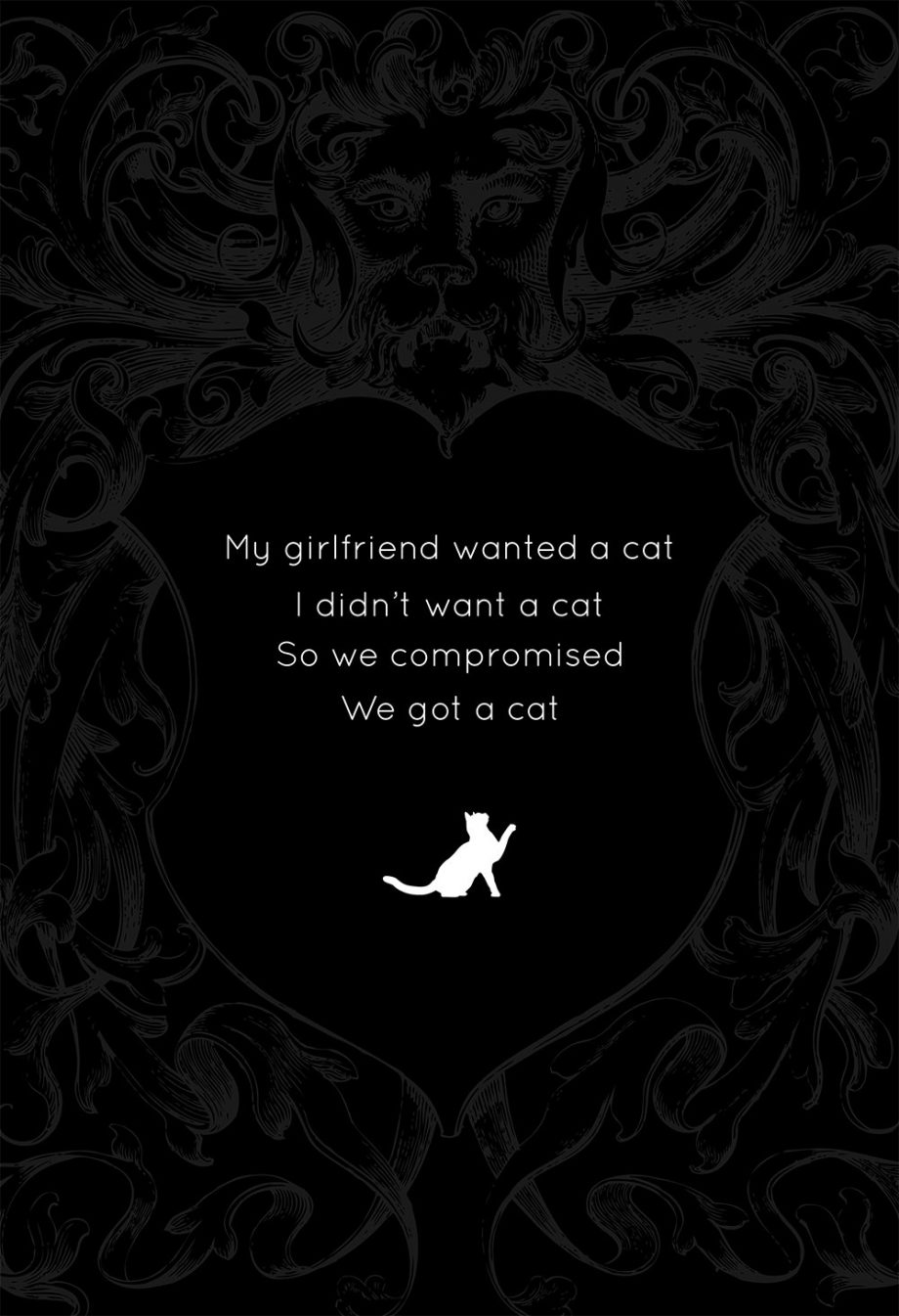 My Girlfriend Wanted A Cat... Original Illustration Vintage Style Giclee Funny Print Large Poster on Satin or Cotton Canvas Humor Wall Decor