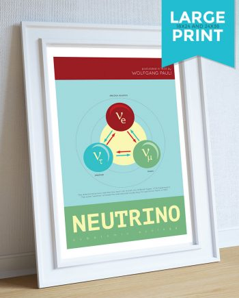 Neutrino Minimalist Large Art Print Science & Physics Illustration Giclee on Satin or Cotton Canvas Geekery Poster Wall Decor