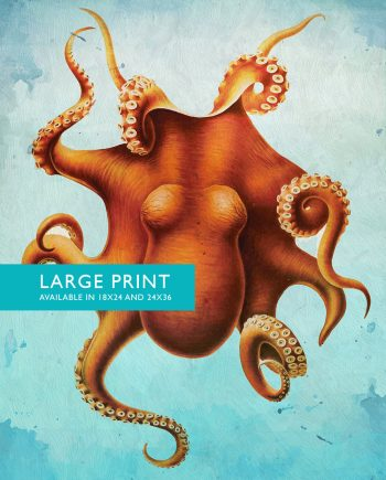 Octopus Art Print Sea Squid 18x24 24x36 Vintage Nautical Decor Ocean Wall Art - Large Giclee Print