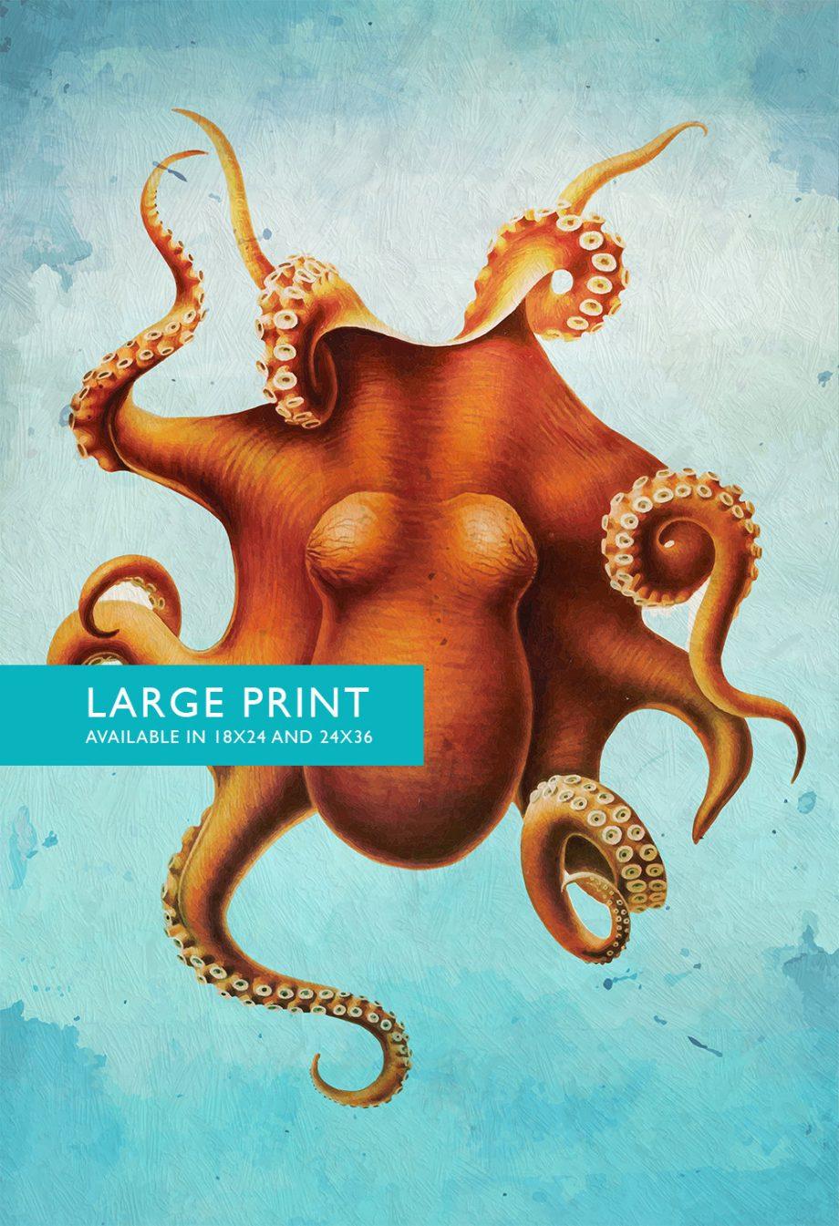 Octopus Art Print Sea Squid 18x24 24x36 Vintage Nautical Decor Ocean Wall Art - Large Giclee Print