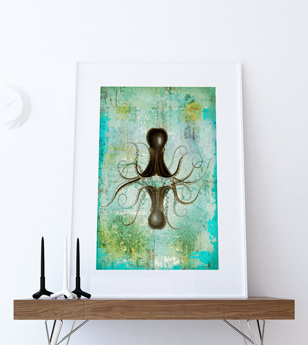 octopus art print sea squid vintage nautical decor ocean