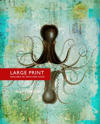 Octopus Art Print Sea Squid Vintage Nautical Decor Ocean Wall Art Giclee Print on Cotton Canvas and Satin Photo Paper