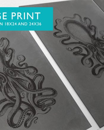 Octopus Art Print Sea Squid Vintage Nautical Decor Ocean Wall Art - Large Giclee Print on Cotton Canvas or Satin Photo Finish