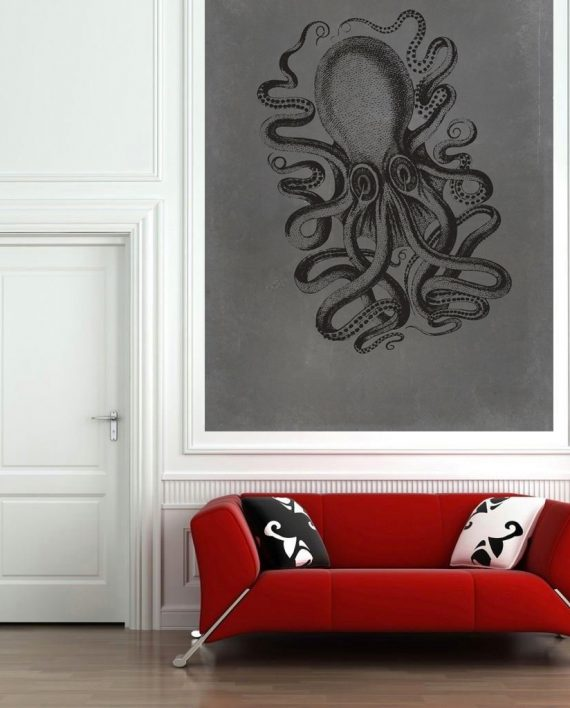 Large Vintage Wall Decor : Octopus art print sea squid vintage nautical decor ocean