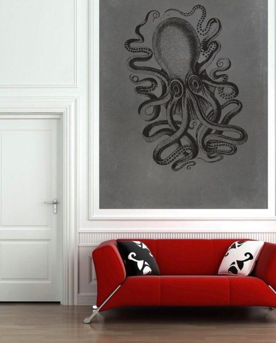 Large Nautical Wall Decor : Octopus art print sea squid vintage nautical decor ocean
