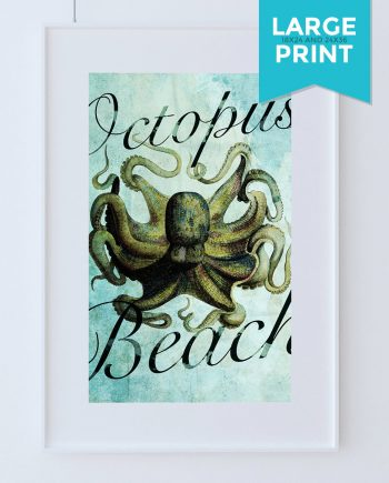 Octopus Print Vintage Nautical Decor Ocean Wall Art - Giclee Print on Large Poster on Satin or Cotton Canvas