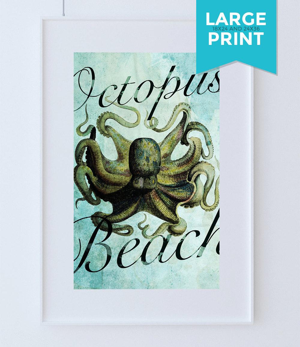 Octopus Print Vintage Nautical Decor Ocean Wall Art   Giclee Print On Large  Poster On Satin