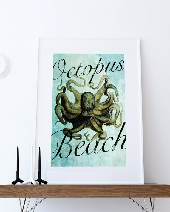 Large Nautical Wall Decor : Octopus print vintage nautical decor ocean wall art