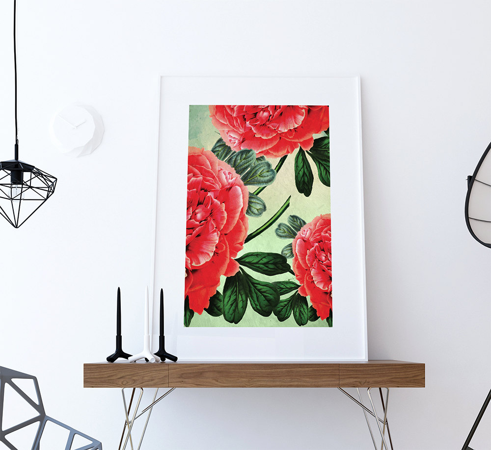 Paeonia Moutan Decor Paeonia Moutan Art Botanical Print Flower Kitchen Decor  Floral Print Floral Wall Decor