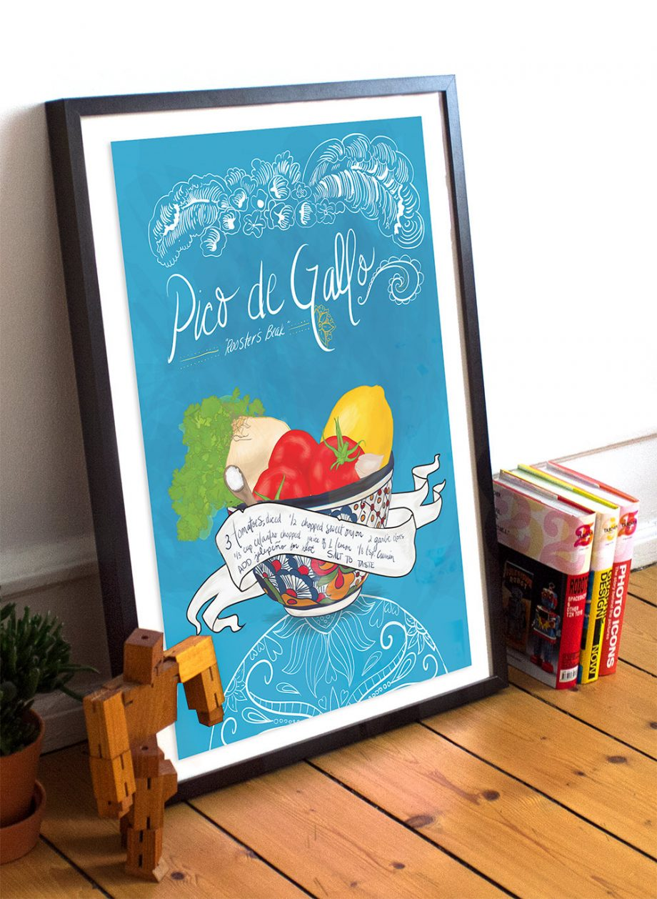 Pico De Gallo Recipe Mexican Kitchen Print Illustrated Dia de los Muertos Salsa Recipe Giclee Cotton Canvas or Paper Canvas Wall Decor Art