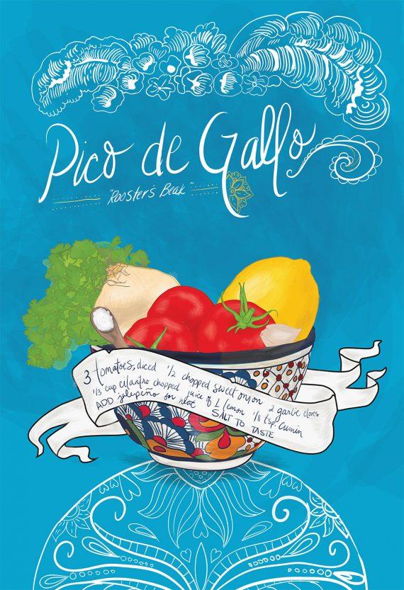 Pico De Gallo Recipe Mexican Kitchen Print Illustrated Dia de los Muertos Salsa Recipe Giclee Cotton Canvas or Paper Canvas Wall Decor Art