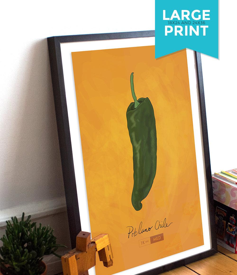 Poblano Chili Pepper Kitchen Print Giclee Original Art