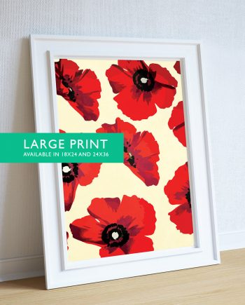 Poppy Art Print Large Red Poppies Flower Pattern - Large Giclee Home Decor on Cotton Canvas and Satin Photo Paper