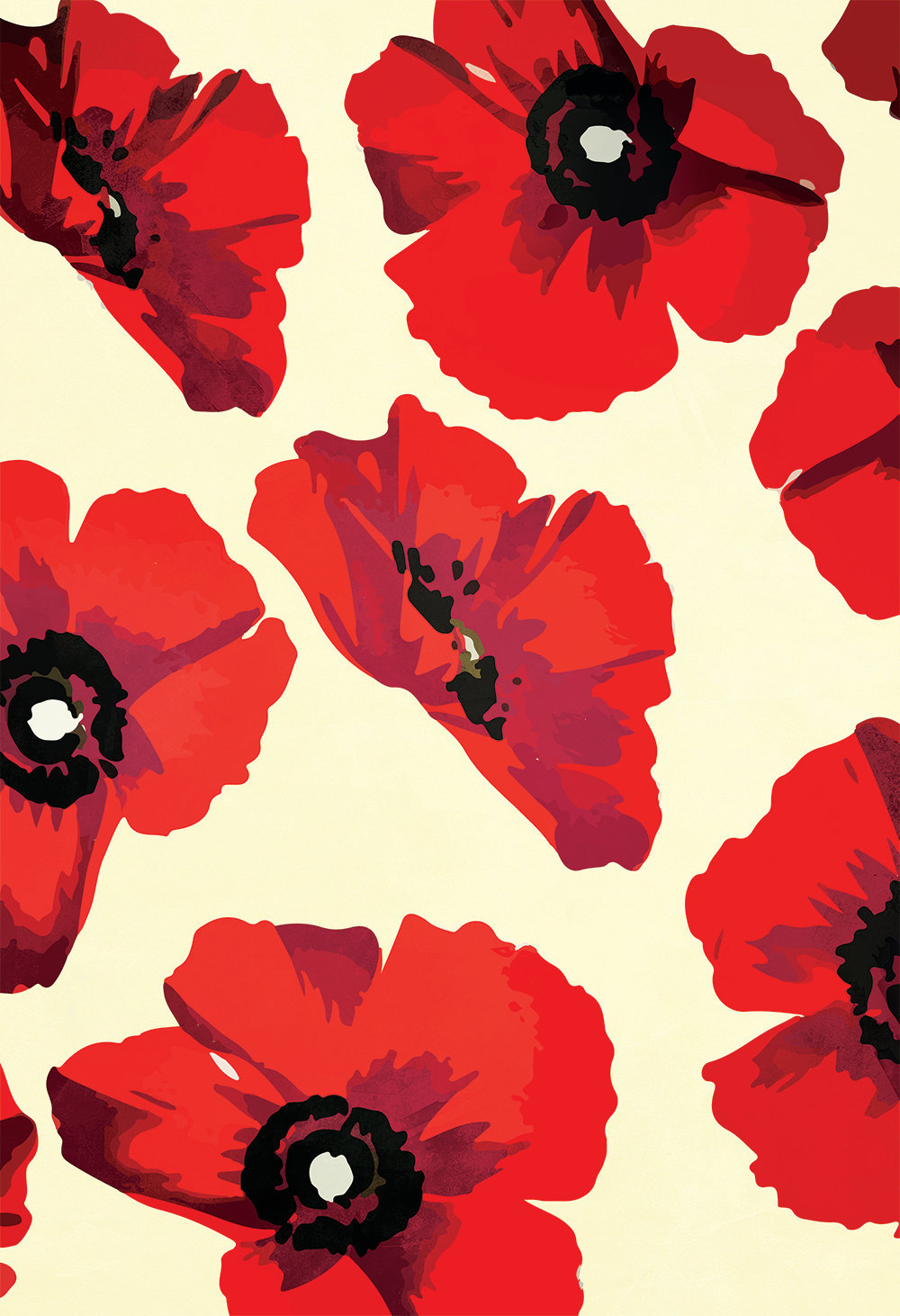 Poppy Art Print Large Red Poppies Flower Pattern Large Giclee Home