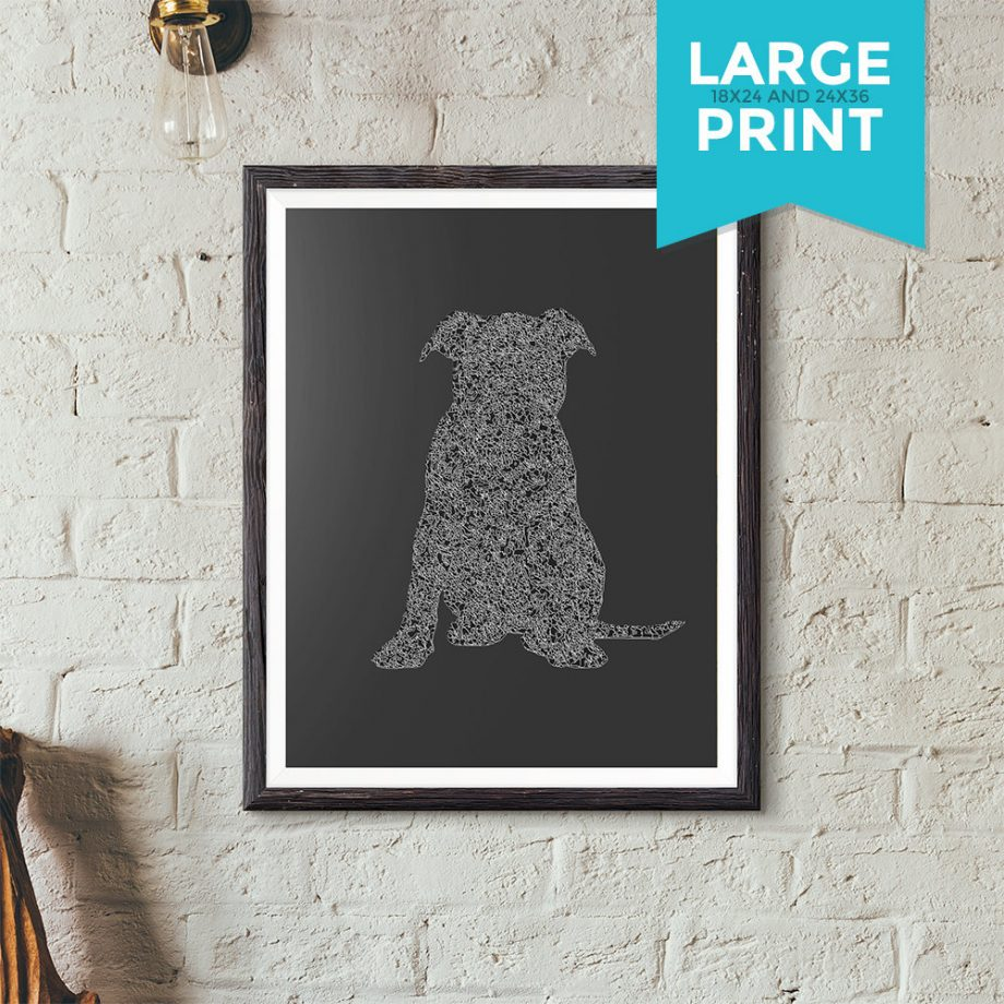 Puppy Silhouette Original Minimalist Illustration Staffordshire Bull Terrier Dog Large Poster Giclee Print Satin or Cotton Canvas Wall Decor