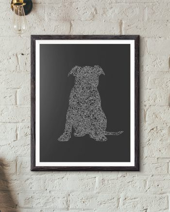 Puppy Silhouette Original Minimalist Illustration Staffordshire Bull Terrier Dog Poster Giclee Print Cotton Canvas Paper Canvas Wall Decor