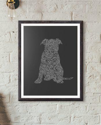 Puppy Silhouette Original Minimalist Illustration Staffordshire Bull Terrier Dog Poster Giclee Print Cotton Canvas Paper Canvas Wall Decor