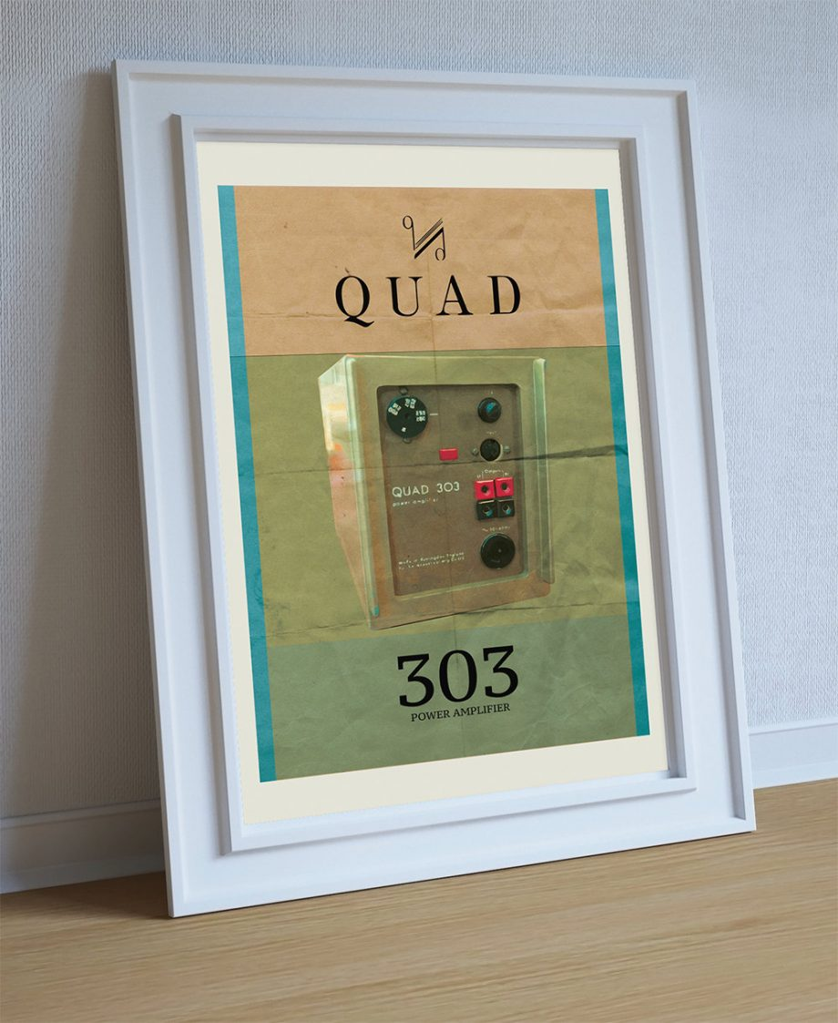 Quad 303 Audiophile Power Amplifier Poster Original Illustration Vintage Ad Style Giclee Print Cotton Canvas Paper Canvas Poster Wall Decor