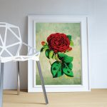 Rose decor Red Rose art Rose gift botanical print flower kitchen decor floral print floral wall decor wall art Canvas