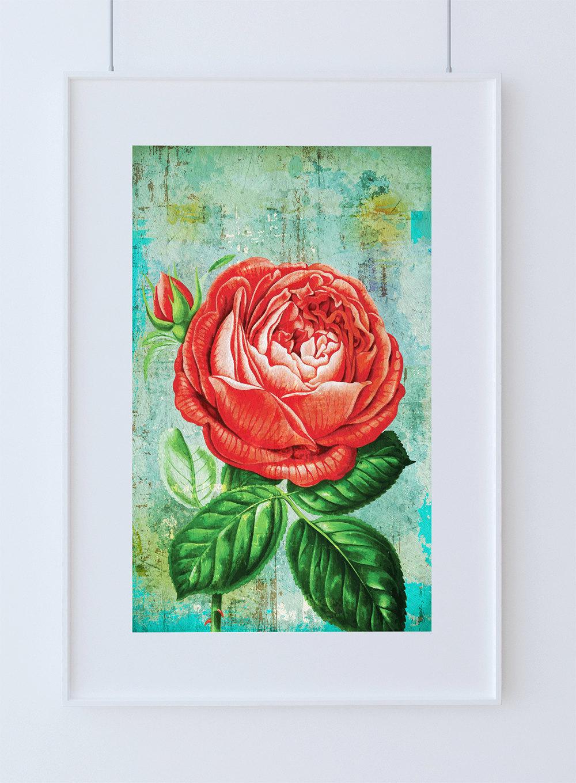 Rose Print Botanical Flower Decor Fl