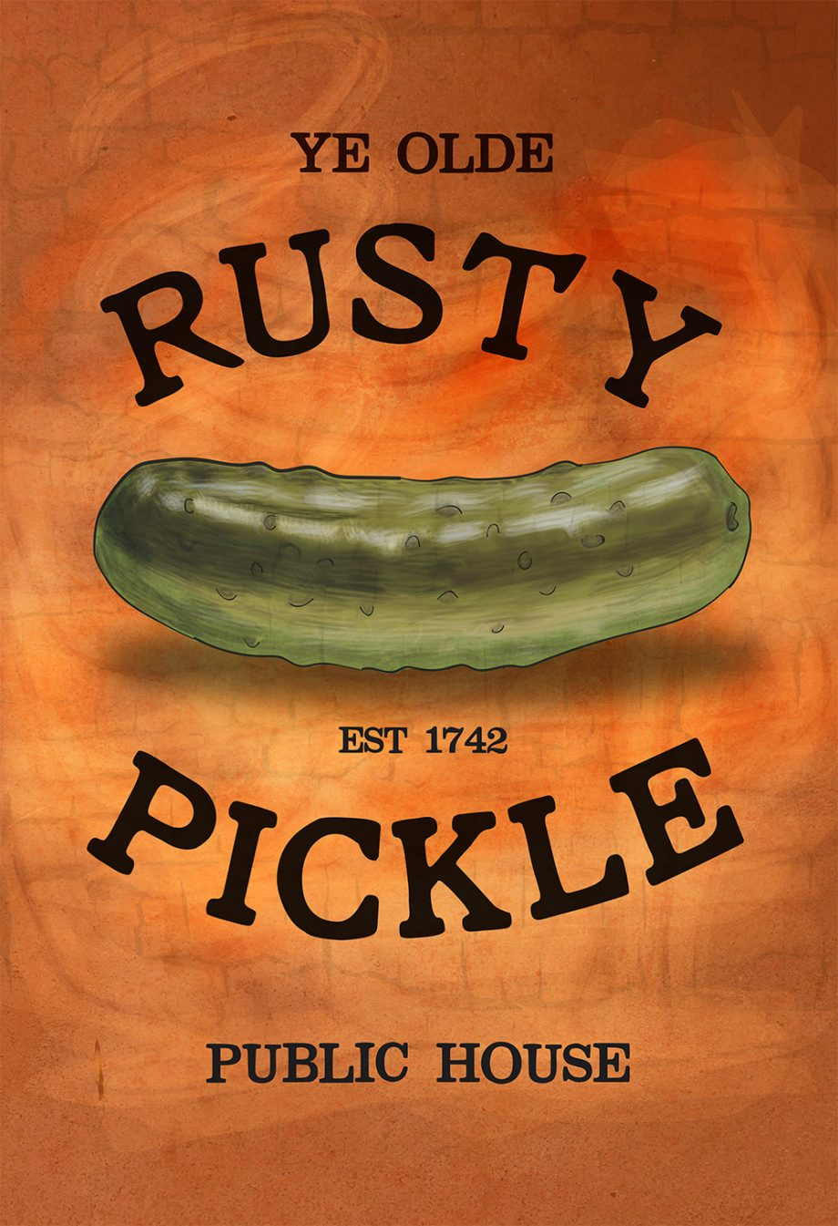 Rusty Pickle Original Illustration Pub Sign Giclee Print on Cotton Canvas and Paper Canvas Kitchen Rustic Bar Wall Decor