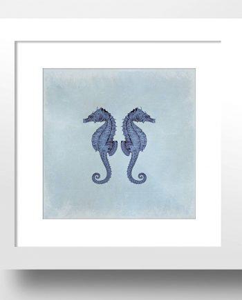 "Sea Horse 24x24"" Art Print Sea Squid Vintage Nautical Decor Ocean Wall Art - Giclee Print on Cotton Canvas or Satin Photo Paper"