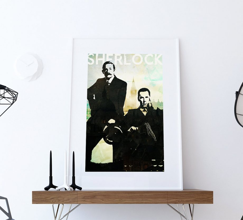 Sherlock Print Sherlock Holmes Print BBC Sherlock giclee on Cotton Canvas and Paper Canvas Wall Art