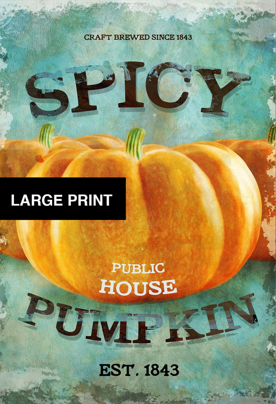Spicy Pumpkin Public House Original Illustration Vintage Style Giclee Print  on Cotton Canvas and Satin Photo Paper