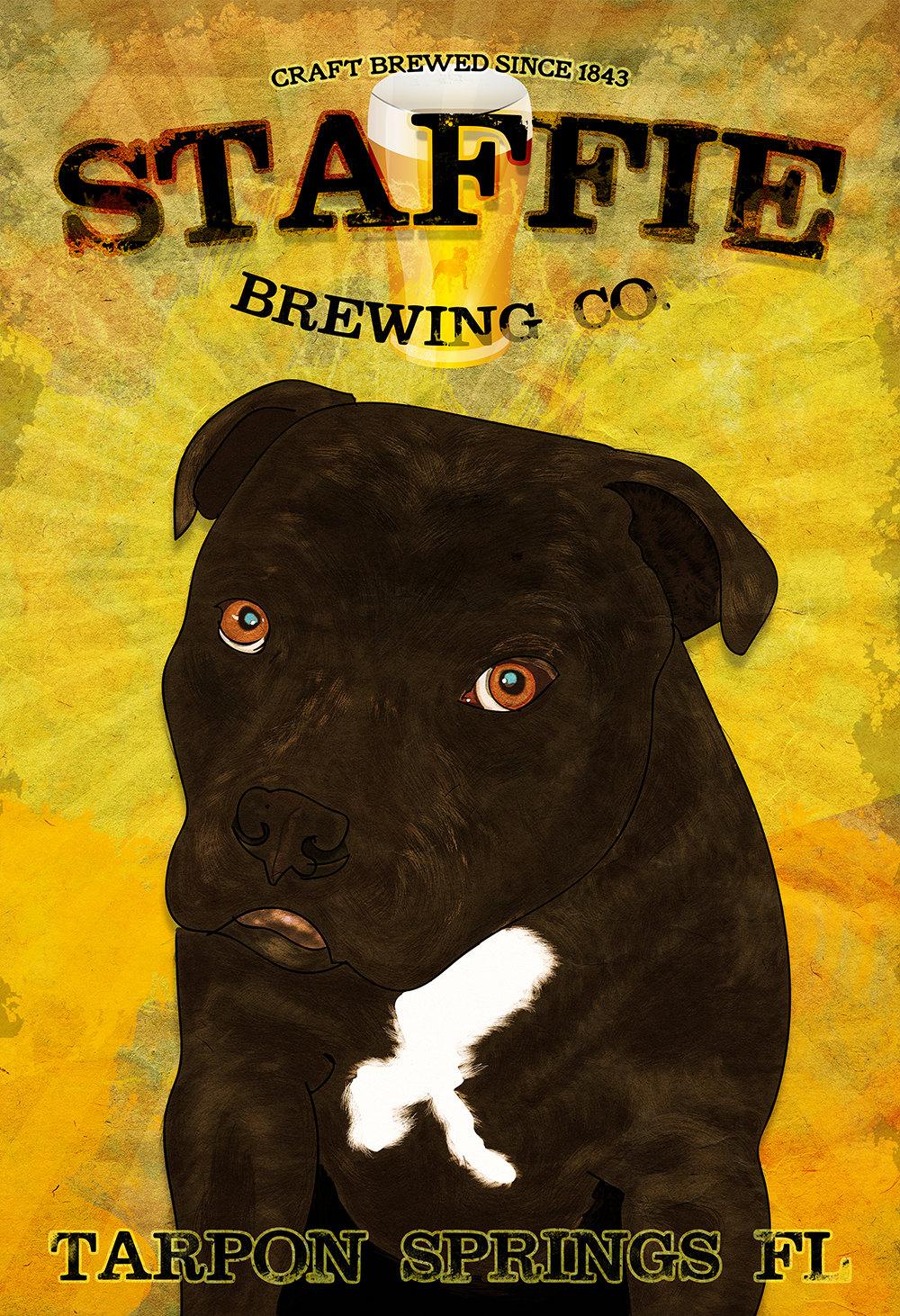 Staffie Brewing Co Original Illustration Vintage Style Dog ...