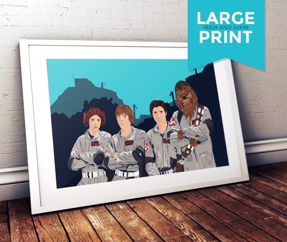 Star Wars as Ghostbusters Mashup Original Illustration Large Poster Print on Satin or Cotton Canvas Pop Art Chewbacca Han Solo