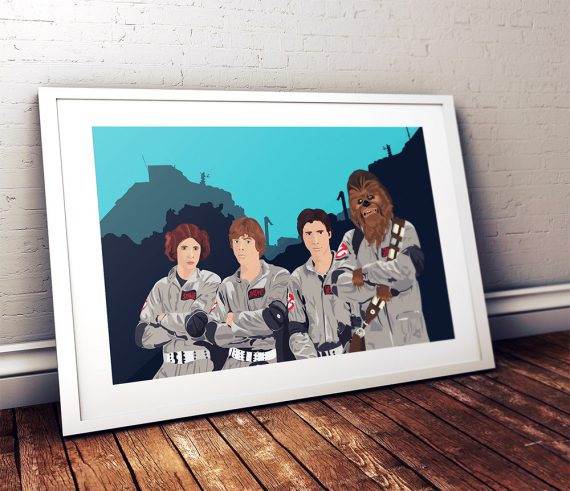 Star Wars as Ghostbusters Mashup Original Illustration Poster Print on Cotton Canvas and Paper Canvas Pop Art Chewbacca Han Solo