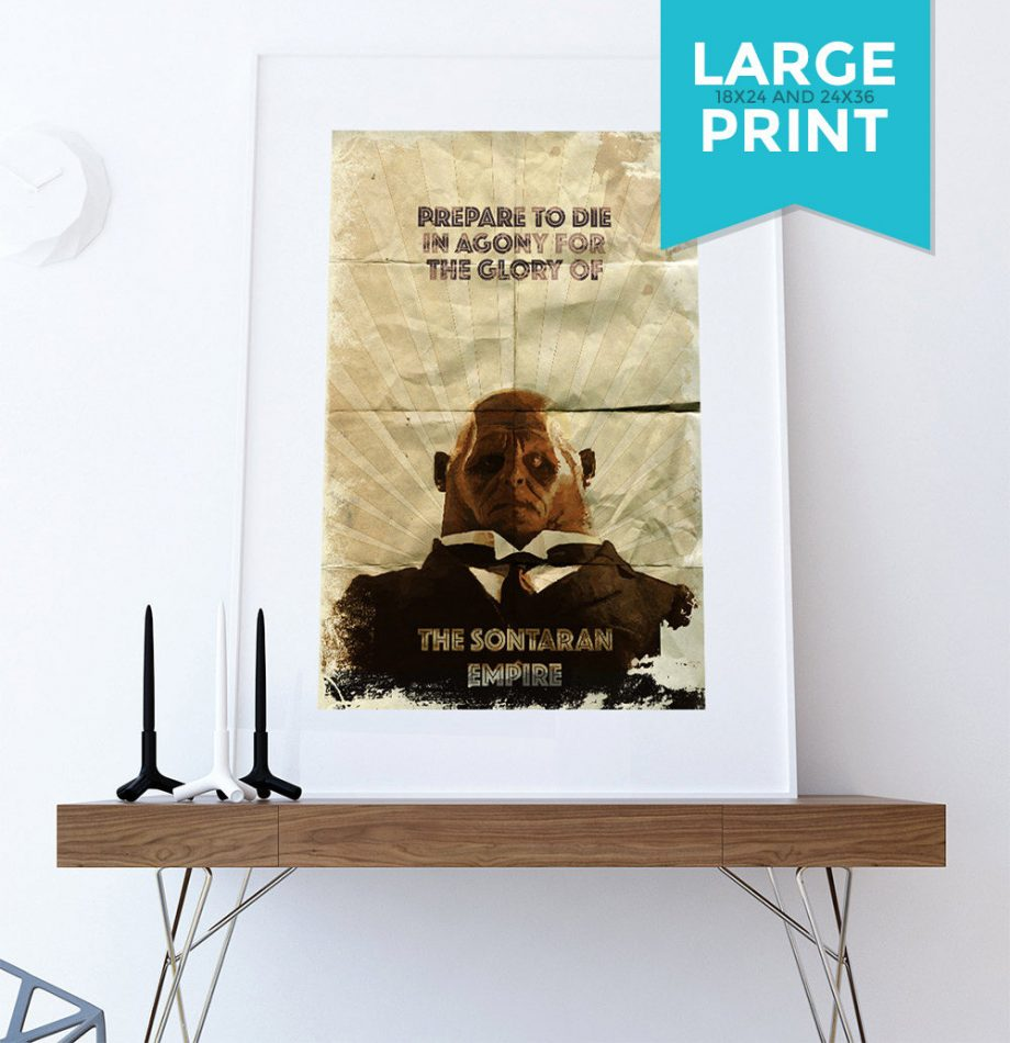 Strax Doctor Who Illustration Sontaran Sci Fi Geekery Large Poster Print Giclee on Satin or Cotton Canvas Whovian Grunge Wall Decor