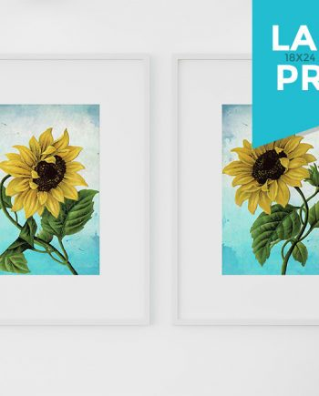 Sunflower Print Set of Two Wall Art Botanical Prints Floral Sunflowers Large Posters Home Decor on Satin or Cotton Canvas