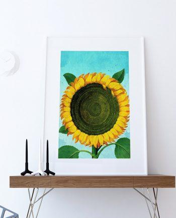 Sunflower Print Tulip art botanical print flower Sunflowers decor floral print floral wall decor Sunflower wall art Canvas