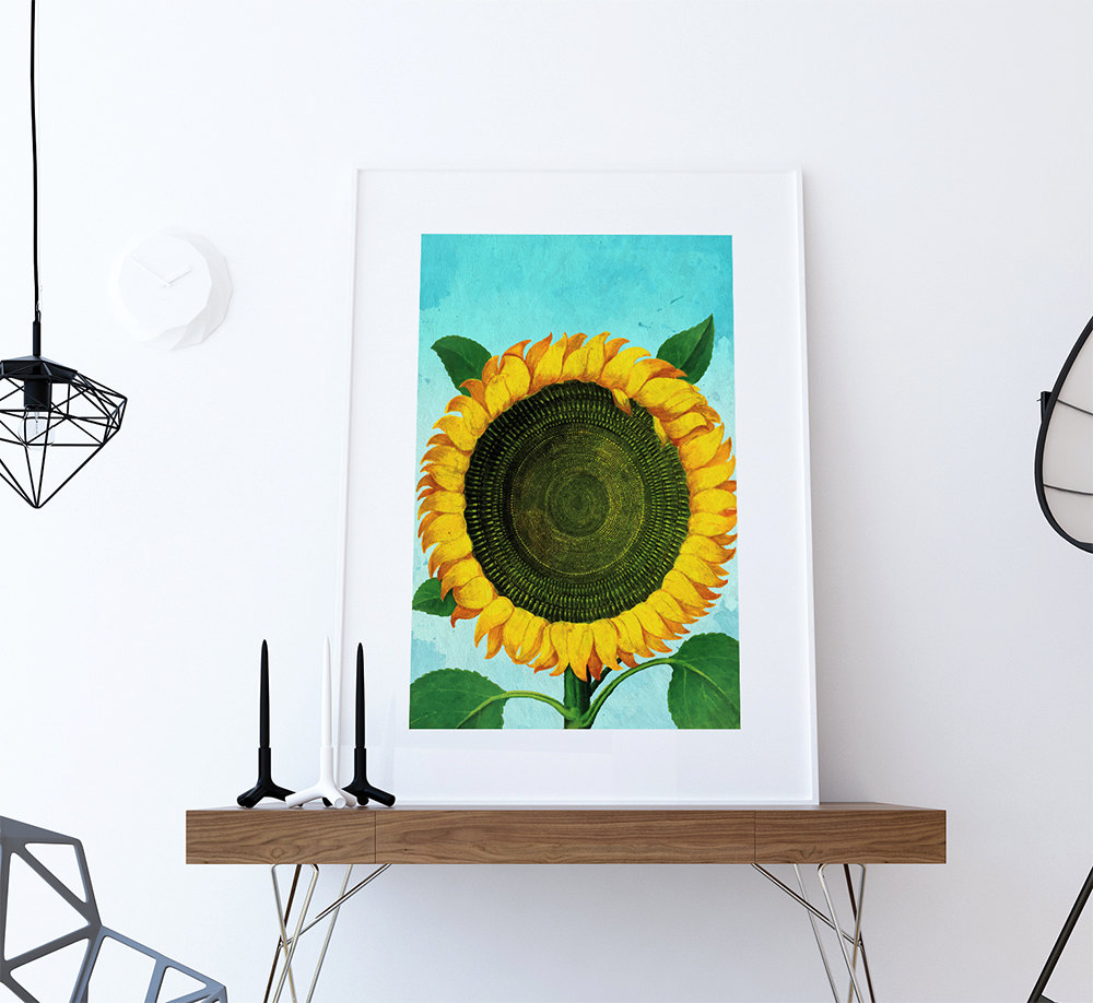 Sunflower Print Tulip Art Botanical Print Flower Sunflowers