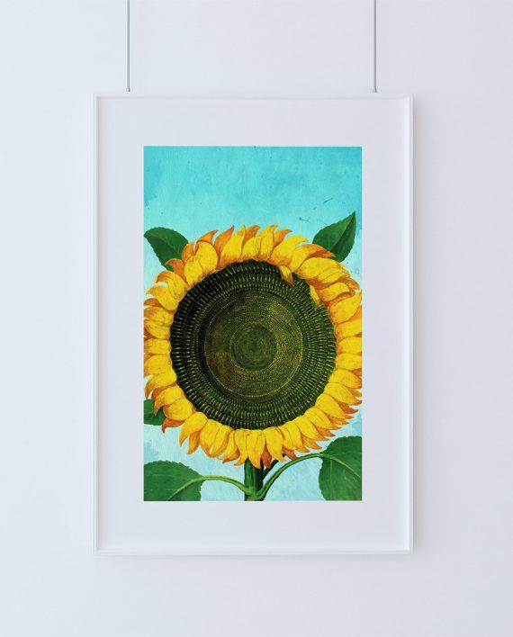 Vintage Sunflower Wall Decor : Sunflower print tulip art botanical flower