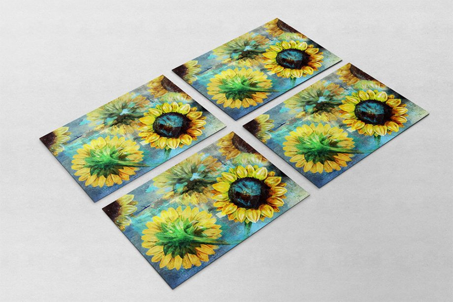 Sunflowers Vintage Home Decor Wall Art Shabby Chic Gift Botanical Print Large Poster on Satin or Cotton Canvas