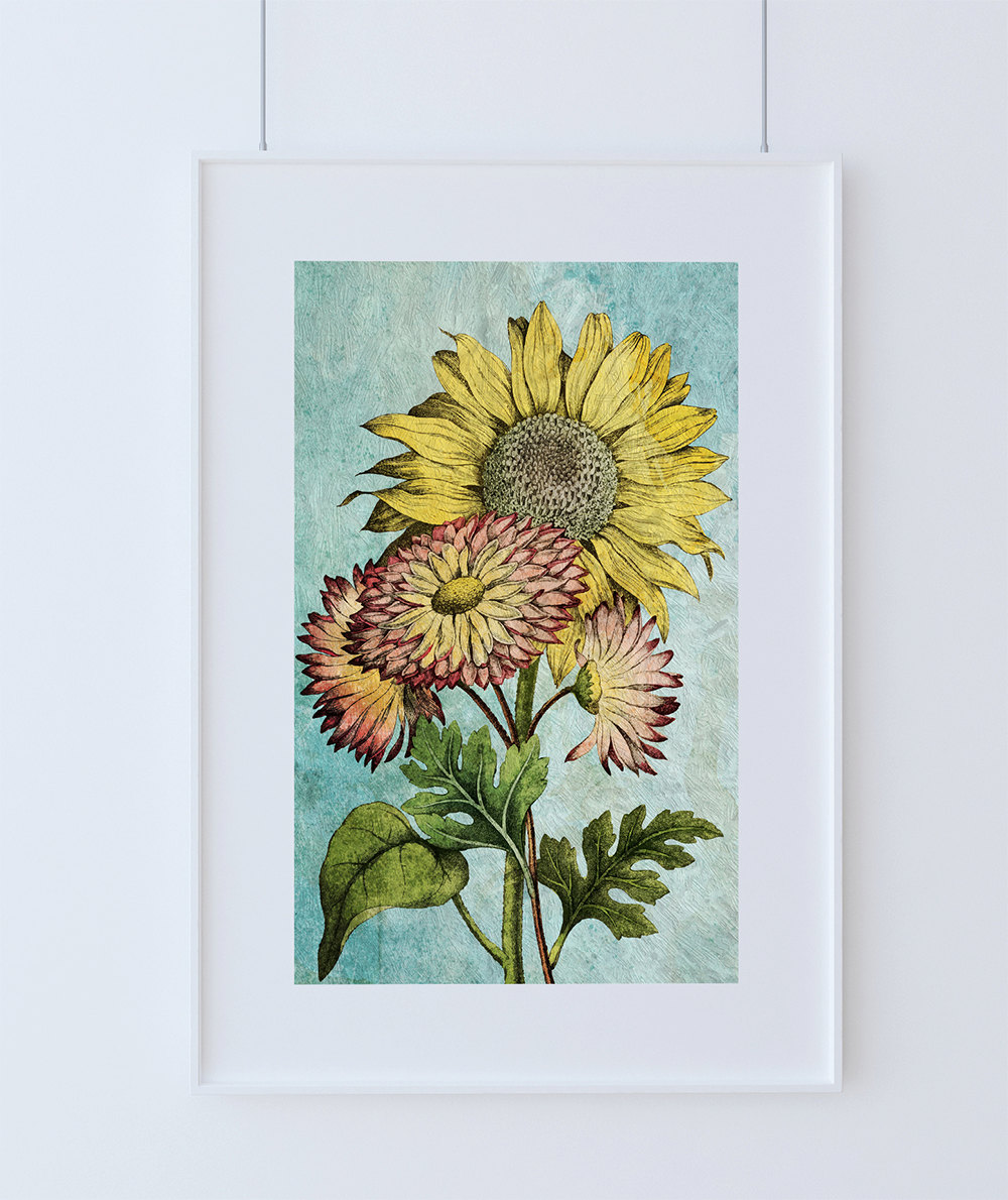Sunflowers vintage home decor wall art shabby chic gift for Prints for home decor