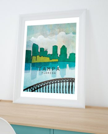 Tampa City Skyline abstract art print Illustration Art Print Giclee on Cotton Canvas and Paper Canvas Poster Wall Decor