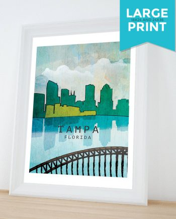 Tampa City Skyline abstract art print Illustration Art Print Giclee on Satin or Cotton Canvas Large Poster Wall Decor