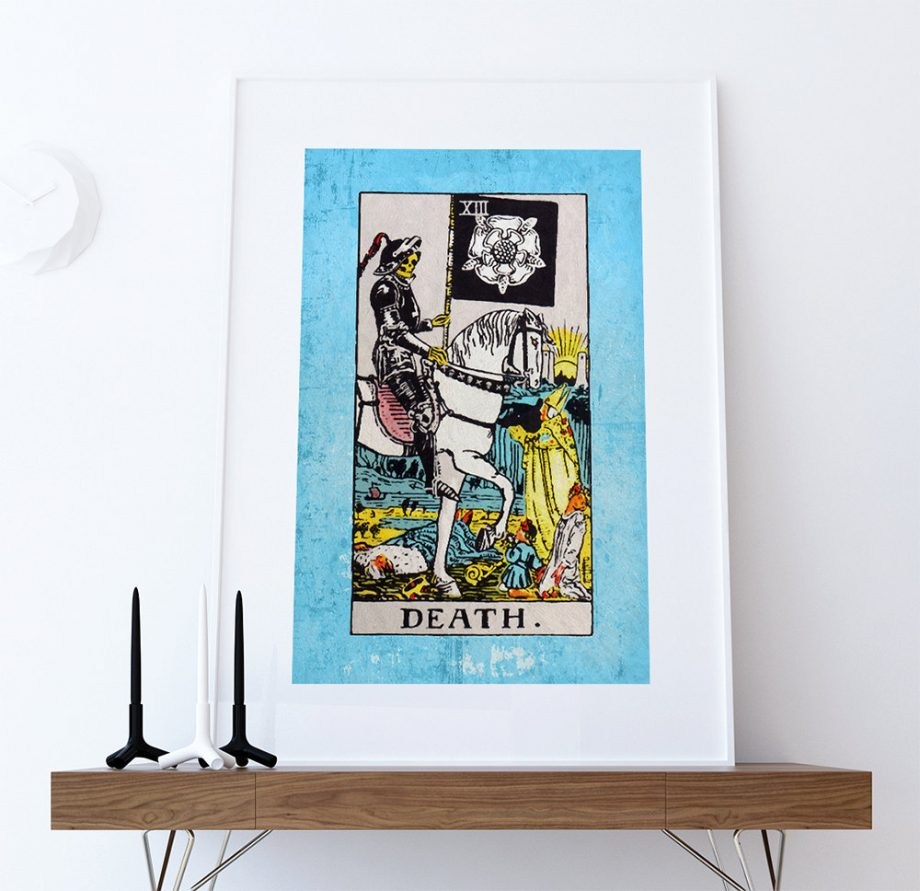 Tarot Print Death Retro Illustration Art Rider Print Vintage Giclee on Cotton Canvas or Paper Canvas Poster Wall Decor