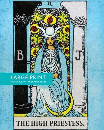 Tarot Print High Priestess Retro Illustration Art Rider Print Vintage Giclee on Cotton Canvas and Satin Photo Paper